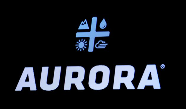 The Logo for Aurora Cannabis Inc., a Canadian licensed cannabis producer, is displayed on a screen on...