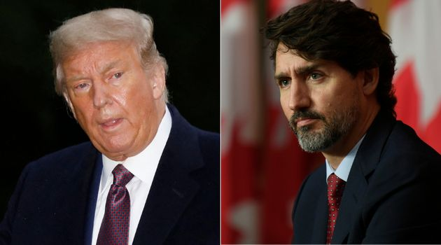 U.S. President Donald Trump and Prime Minister Justin Trudeau are shown in a composite photo of images...
