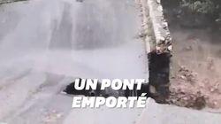 Un pont emporté par les intempéries dans les Alpes-Maritimes, plusieurs
