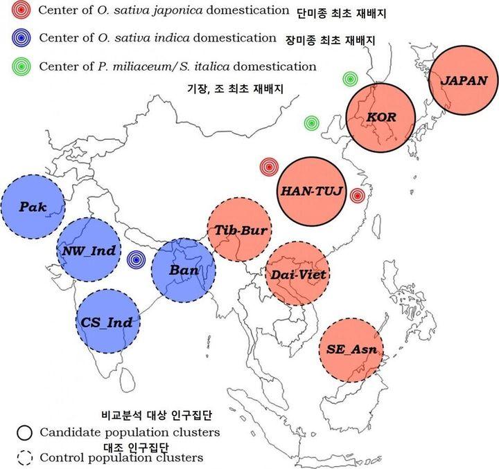쌀 재배 기원지와 조사 대상 인구집단 위치.