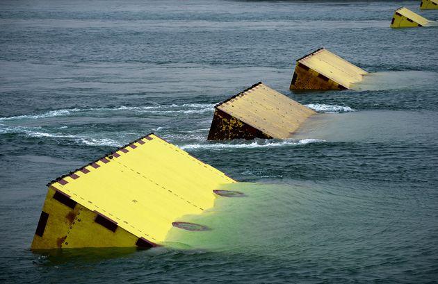 Des blocs du système MOSE pour éviter les inondations à Venise, photos prise le...
