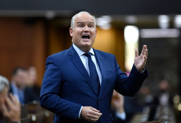 Conservative Leader Erin O'Toole rises during Question Period in the House of Commons on Parliament Hill in Ottawa on Thursday.