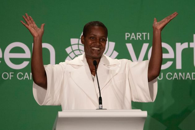 New Green Party Leader Annamie Paul celebrates after speaking at the leadership announcement in Ottawa, Saturday Oct 3, 2020.