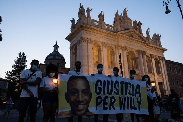People gather in Piazza San Giovanni to ask for justice and remember Willy Monteiro Duarte, in Rome,...