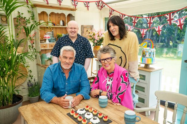 Paul, Matt, Prue and Noel in the Bake Off tent