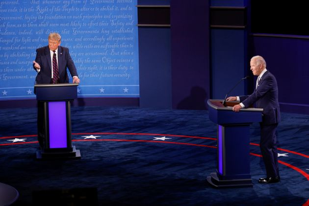 U.S. President Donald Trump speaks during the first 2020 presidential campaign debate with Democratic...