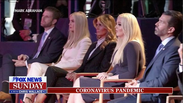 From left to right: Eric Trump, Ivanka Trump, Melania Trump, Tiffany Trump and Donald Tump Jr. are seen without masks at the