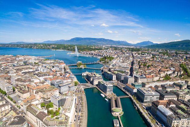Aerial view of Leman lake - Geneva city in