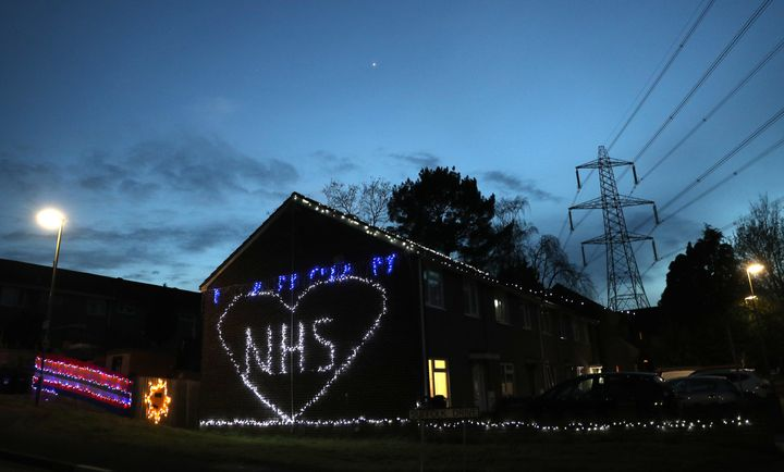 <strong>Christmas lights are used to show appreciation for the NHS on a house in Cambridge Drive in Chandler's Ford near East
