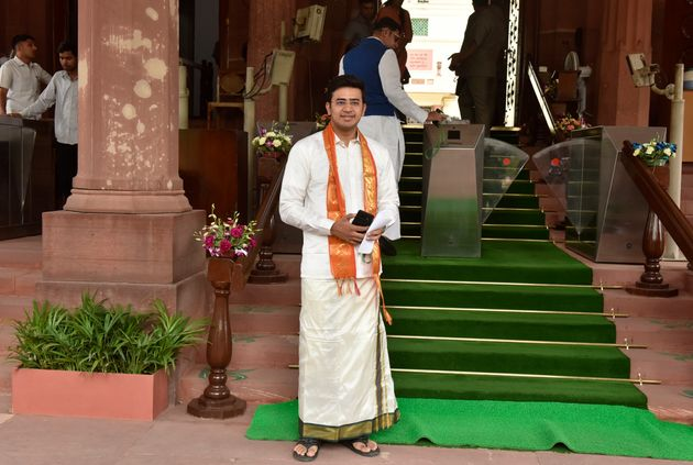 Tejasvi Surya arrive in front of the Parliament of India in
