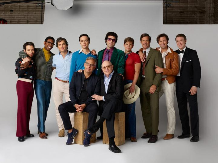 "Tony Award winner Joe Mantello (front, at left) directed the new film adaptation of ""The Boys in the Band,"" which debute"