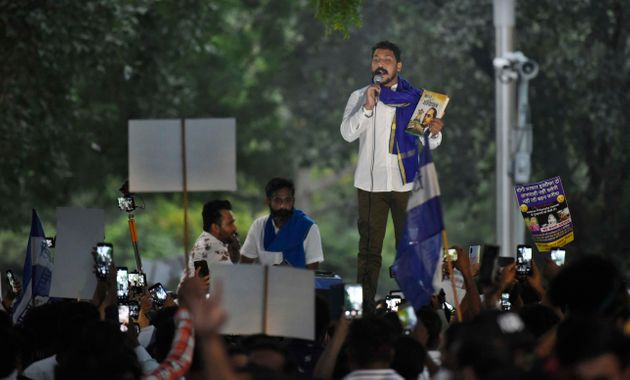 Bhim Army chief Chandrashekhar Azad addresses supporters and protesters at Jantar Mantar during the protest...
