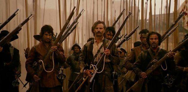 Recreación de un tercio español en la película 'Alatriste', basada en las novelas...