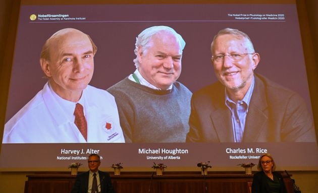 The winners of the 2020 Nobel Prize in Physiology or Medicine are (L-R): American Harvey Alter, Briton...