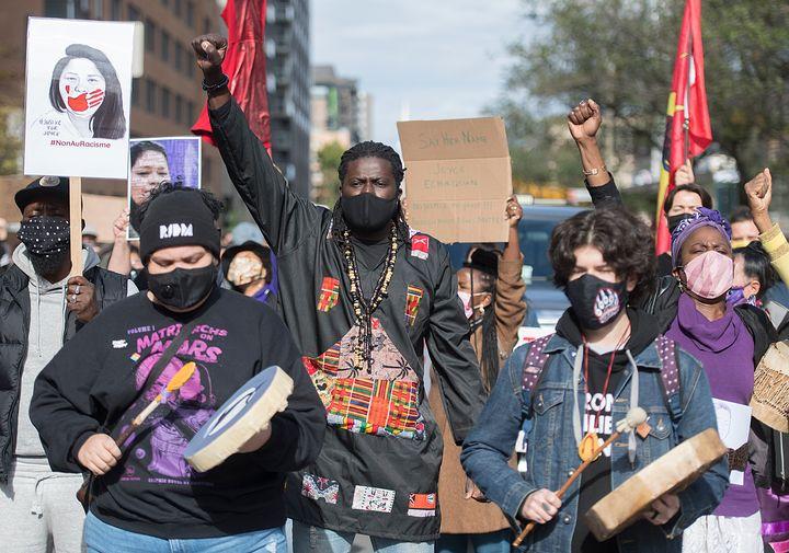 Nakuset est l'une des coordonatrices de la manifestation contre le racisme systémique intitulée «Justice pour Joyce» qui a eu lieu la fin de semaine dernière à Montréal.