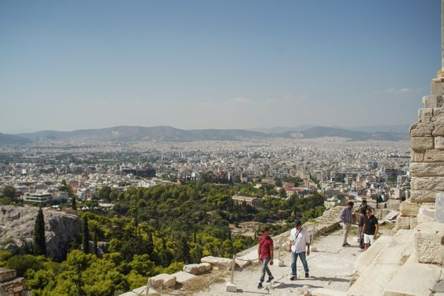 A general view of Athens city city center from the Parthenon. In Athens, Greece, on September 06, 2020....