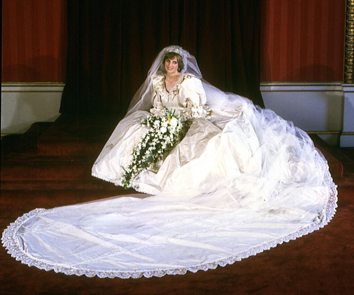 The Princess of Wales on her wedding day in 1981.