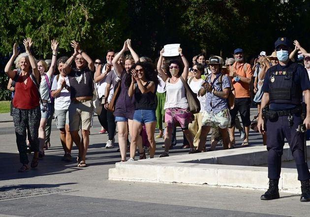 Manifestación 'antimascarillas' en Madrid, el pasado 16 de