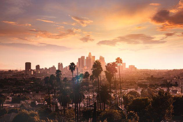 Los Angeles cityscape at dusk.