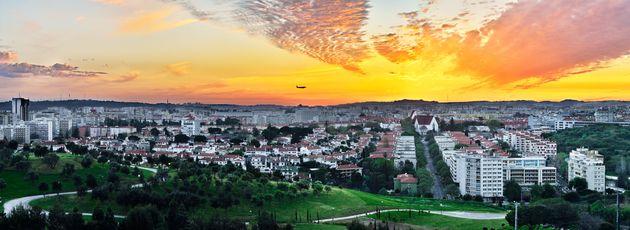 Alvalade and the Bela Vista park, an Lisbon neighborhood at sunset panorama