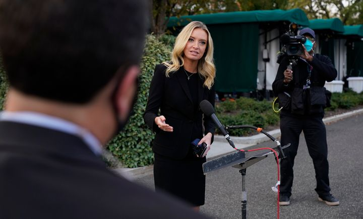 A day before testing positive for COVID-19, White House press secretary Kayleigh McEnany spoke to reporters without a mask.