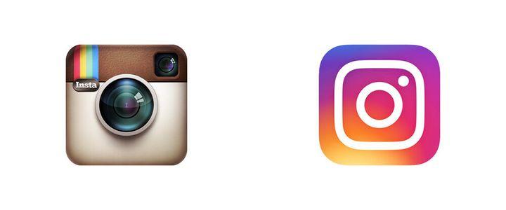 El primer logo de Instagram y el logo de 2016.