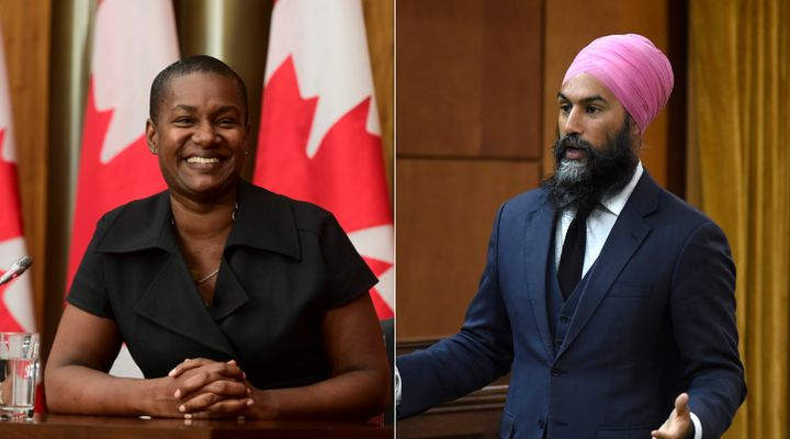 Green Party Leader Annamie Paul and NDP Leader Jagmeet Singh are shown in a composite of images from The Canadian Press.