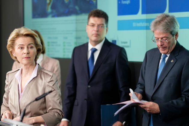 BRUSSELS, BELGIUM - MARCH 2, 2020: President of the European Commission Ursula von der Leyen (L), EU...