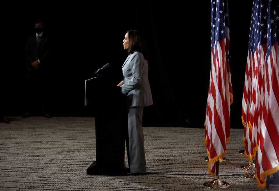 Democratic U.S. vice presidential nominee Senator Kamala Harris speaks at a campaign event in Raleigh, North Carolina, U.S. S