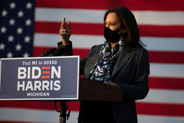 Harris speaks at a campaign event in Detroit, Michigan, on Sept. 22, 2020.