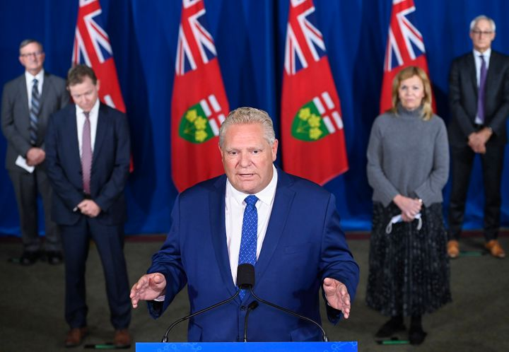 Ontario Premier Doug Ford holds a press conference with his medical team at Queen's Park in Toronto on Oct. 2, 2020.