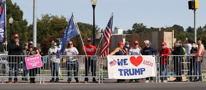Trump supporters gathered outside Walter Reed National Military Medical Center on Sunday to show their support for President