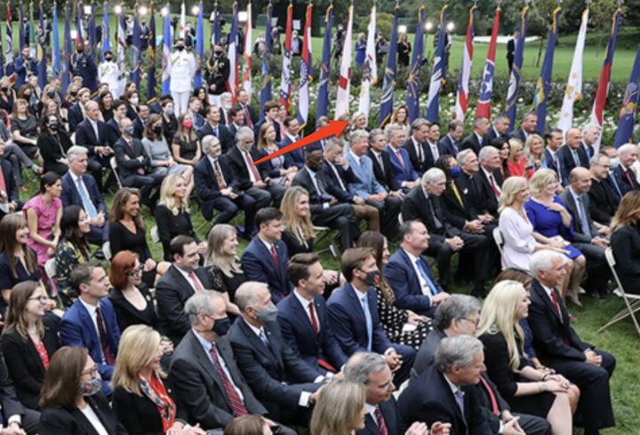 Arrow points to attorney Cleta Mitchell in the crowd at the Rose Garden event Sept. 26 celebrating the Supreme Court nominati