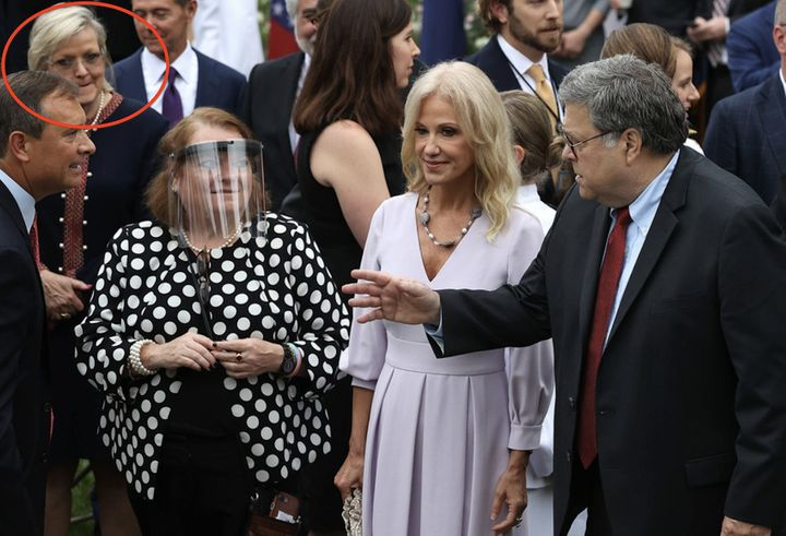 Lawyer Cleta Mitchell at the Sept. 26 Rose Garden event with former White House counselor Kellyanne Conway, who announced day