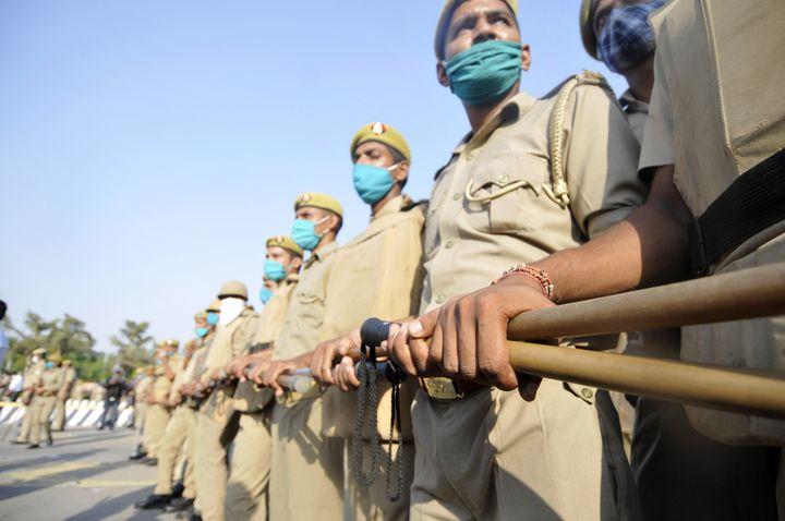Police personnel deployed in a multi-layer security arrangement at the DND Flyway on October 3, 2020 in Noida.
