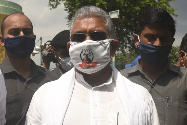 West Bengal BJP President Dilip Ghosh at 'Save Democracy, Save Bengal ' protest in front of Gandhi Statue,...