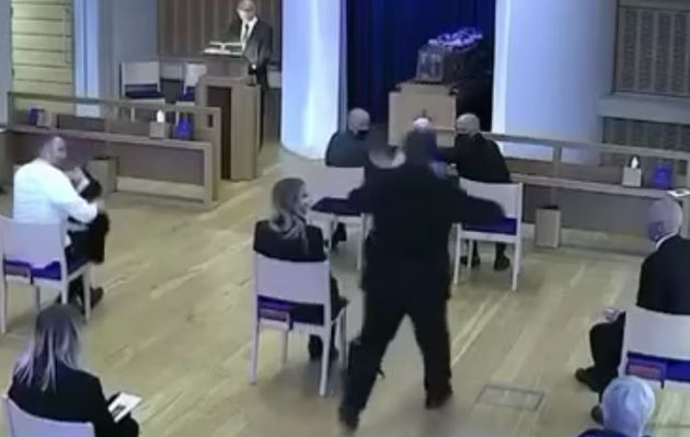 'When I want to give my mum a cuddle at dad's funeral, a man flies out mid service shouting stop...
