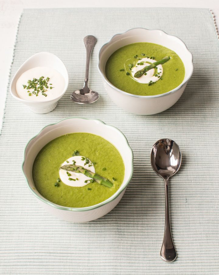"Asparagus and Spinach Soup recipe from <a href=""http://britishasparagus.com/"" target=""_blank"" rel=""noopener noreferrer"">britishasparagus.com</a>"