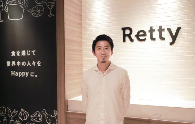 Retty株式会社創業者で、代表取締役の武田和也さん。「食を通じて世界中の人々をHappyに。」というビジョンを掲げ、Rettyはユーザーと飲食店の双方がHappyになれる場を目指している。