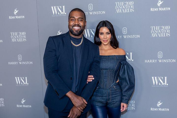 Kanye West and Kim Kardashian West in 2019.