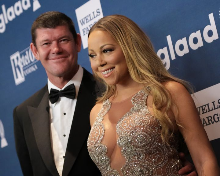 Mariah Carey and businessman James Packer attend the 27th Annual GLAAD Media Awards at The Waldorf-Astoria on May 14, 2016, i