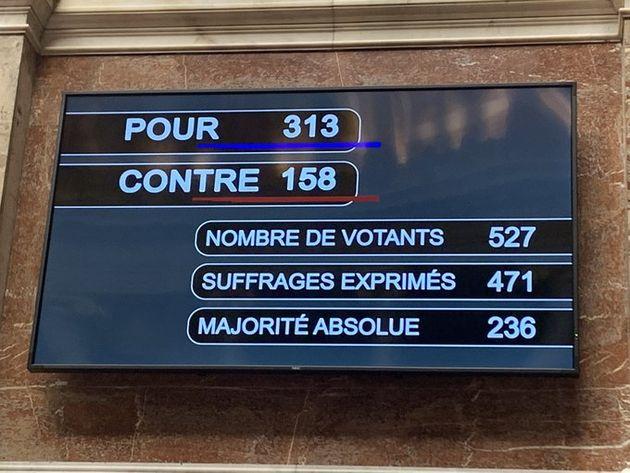 Les résultats du vote à l'Assemblée nationale surla réintroduction...