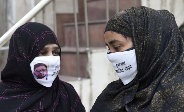 Mother of student activist Umar Khalid and wife of United Against Hate founder Khalid Saifi at a press...