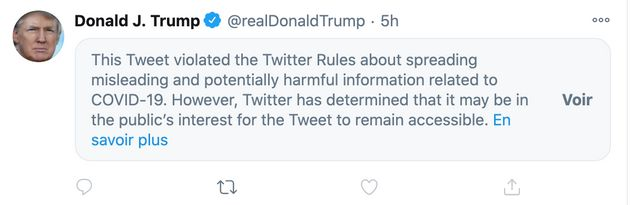 Un tweet de Trump sur la COVID-19 signalé par
