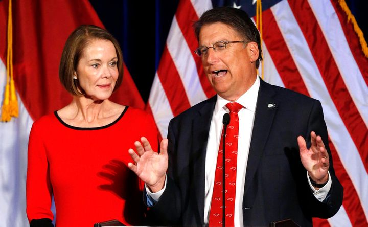 Then-Gov. Pat McCrory (R) of North Carolina speaks to supporters with his wife, Ann, at his side in Raleigh on 2016's Electio