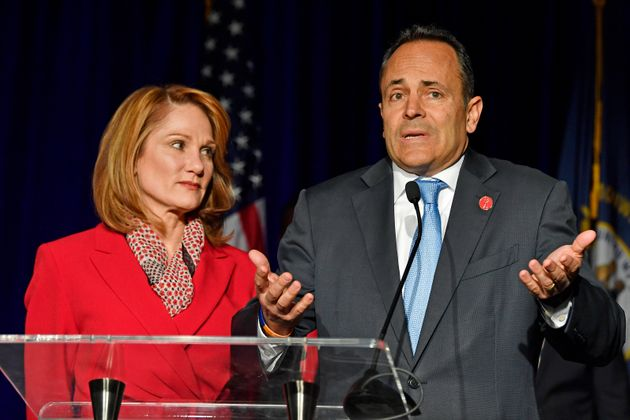 Then-Gov. of Kentucky Matt Bevin (R) speaks to supporters in Lousiville as wife Glenna looks on...