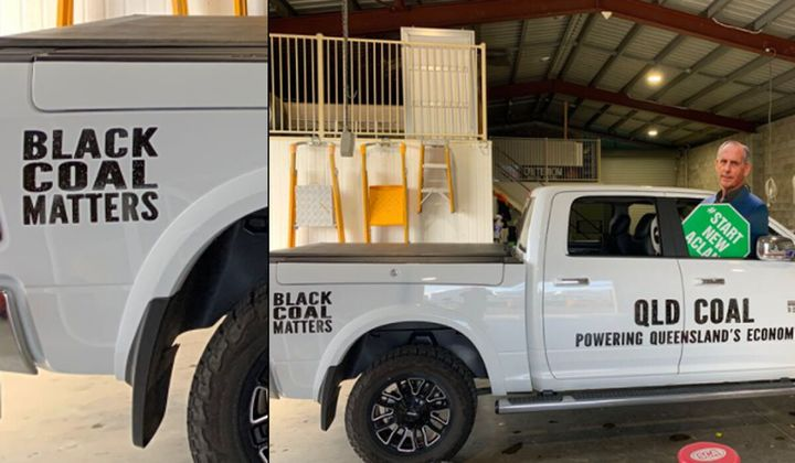 Nationals Senator Matt Canavan has promoted coal mining jobs with a 'Black Coal Matters' slogan on his ute, a stunt criticised as belittling the Black Lives Matter movement.