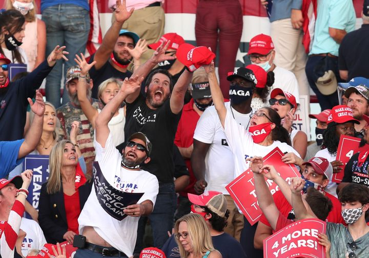 The Trump campaign is continuing to host in-person events, featuring crowds of maskless fans, even as the White House COVID-19 outbreak expands.