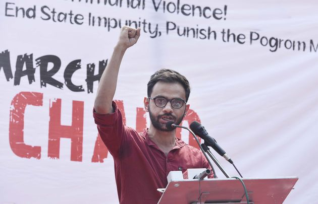 Former JNU student Umar Khalid speaks at a protest against Citizenship Amendment Act and the recent communal...