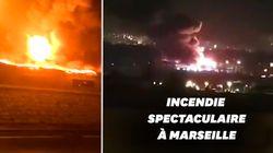 À Marseille, un gigantesque incendie ravage un dépôt de